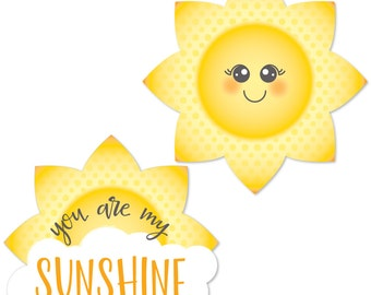 You Are My Sunshine - Shaped Die Cut Paper Cut Outs - You Are My Sunshine Party Decorations for Baby Shower or Birthday Parties - 24 pc.