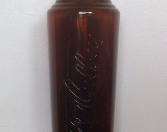 Large Antique Amber Glass Bottle. W & A Gilbey Gin Bottle. 1910's.
