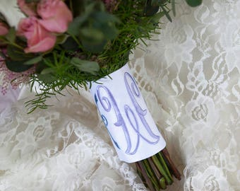 Custom Monogram Bridal Bouquet Wrap ~ Arabesque Monogram