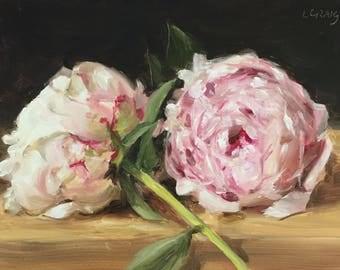 "Original Framed Oil Painting Still Life ""Two Peonies"""