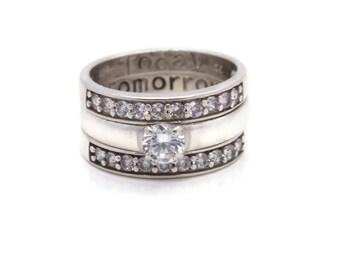 Vintage 925 Sterling Silver Bridal Ring Set Cubic Zirconia Rings Womens