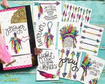 Christian Journaling Cards 3x4 Warrior Prayer Pocket Page Letters Print Arrows Feathers Head Dress Fine Art CS Lewis Project Watercolor Life