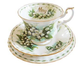 May trio - Flower of the Month trio - Royal Albert tea cup, saucer and tea plate - Lily of the Valley
