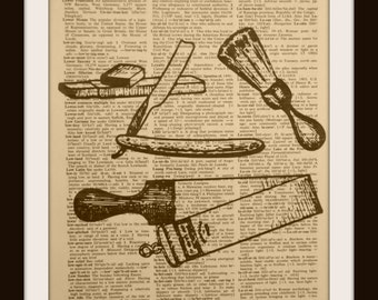Barber supplies Authentic Vintage Dictionary/Encyclopedia Page Print~cosmetology ~ hair dresser ~ gift ~ barber shop Decor ~  station