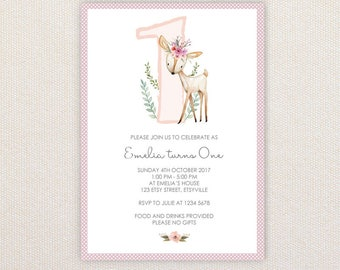 Girls 1st Birthday Party Invitations. Woodland deer with flower crown. I Customize, You Print.