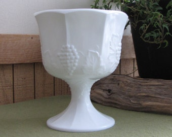 Vintage Milk Glass Compote Paneled Grapes Pattern White Footed Bowl