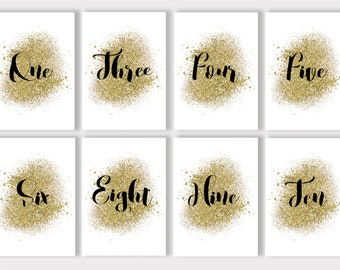 Gold & Pink Glitter Table Numbers