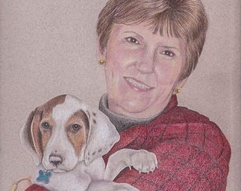 Custom Pet Portrait , Colored Pencil Pet Portrait,  Two Subjects, Hand Drawn from your Photo