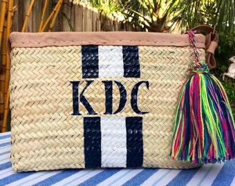custom monogrammed bag customize straw bag initialed beach