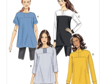 Butterick Sewing Pattern B6416 Misses' Button-Closure Tunics with Yokes