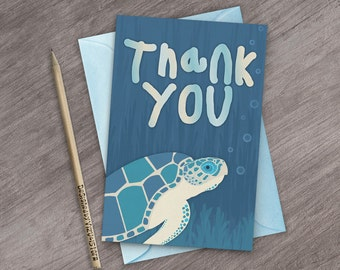 Sea Turtle Thank You Card for Kids Birthday Parties Under The Sea Thank You Note Printable Animal Art Card Baby Shower Card Ocean Thank You