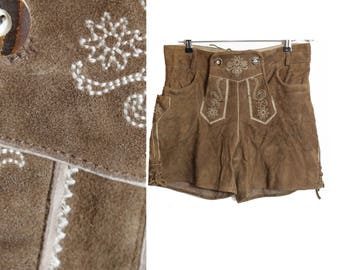 Alpen shorts, Bavarian shorts. Leather shorts, Loden shorts, Suede shorts, Dirndl shorts, Vintage shorts,  High waist shorts / Small  Medium