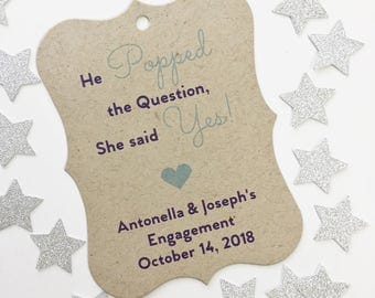 He Popped The Question She Said Yes Engagement Tags, Kraft Engagement Thank You Tags, Wedding Favor Tags  (EC-081-KR)