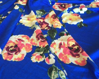 YELLOW Floral on Royal Rayon Spandex Jersey Knit Fabric, 4 Way Stretch, Four Way, BTY By The Yard