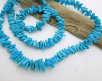 "Sleeping Beauty Turquoise Nugget Beads, Center Drilled Turquoise, Genuine Turquoise, American Turquoise, 6-10x2-4mm (9"")"