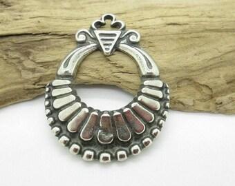 Southwestern Silver Pendant, Squash Blossom Pendant, Native American Replica Pendant, 40x30mm (1)
