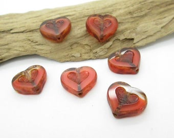 Czech Glass Heart Charm, Coral Glass Heart Bead, Small Heart Pendant, Heart Earring Dangle  14mm (6)