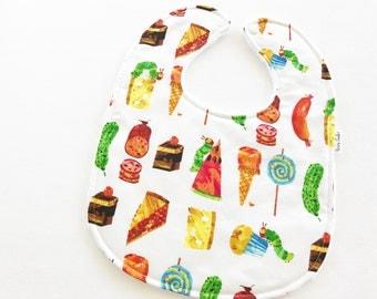 Personalized Baby Bib - Very Hungry Caterpillar Baby Bib - Eric Carle Baby Bib - White Bubble Dot Minky Backing - Handmade Baby Gift