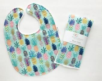 Baby Bib and Burp Cloth Set - Baby Bib Set - Pineapple Bib and Burp Cloth Set - Tropical Bib - White Bubble Dot Minky - Handmade Baby Gift