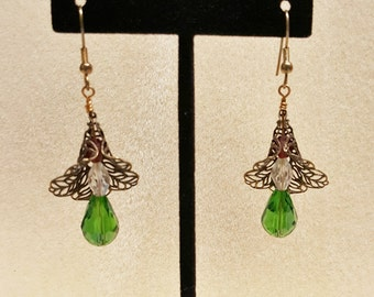 EARRINGS, LILLY SHAPED Filigree with a Green Swarovski Tear Drop & Swarovski Crystal Beads