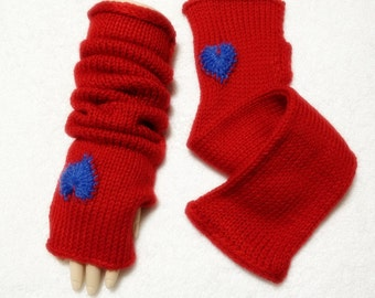 Clearance Only One Long Arm Warmer Fingerless With Hearts