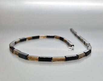 Men's necklace Onyx and smokey Quartz with Sterling silver - gemstone natural - gift idea