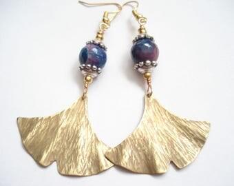 Ginkgo Bronze Hammered Blue Agate Earrings Contemporary Metalwork Leaf Earrings Modern Antique Faced Earrings