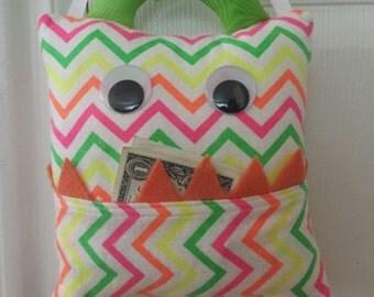 Tooth Fairy Monster Pillow- neon zig-zag