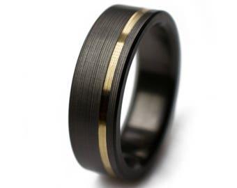 Mens Wedding Bands - Black Zirconium With 14k Gold. Black wedding rings, black wedding bands, black ring,