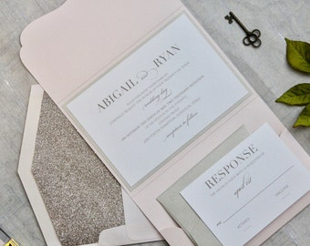 Glitter Wedding Invitations, Blush wedding Invitation, Pocket Invitation, Wedding Invitations, Blush, DEPOSIT