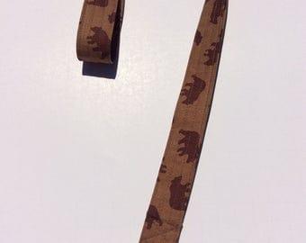 Brown Bear Lanyard Keychain ID Badge Holder Key Keeper Key Leash Brown Bears