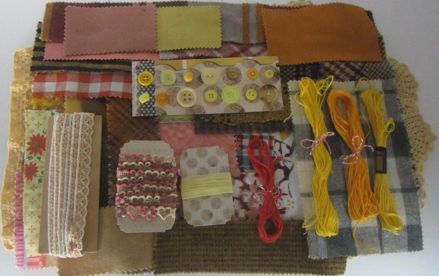 Vintage yellow orange and brown sewing notions lot for Sewing and craft supplies