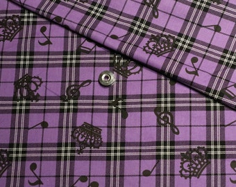 Purple kawaii Japanese cotton fabric 110x100cm, check, crown, notes, music