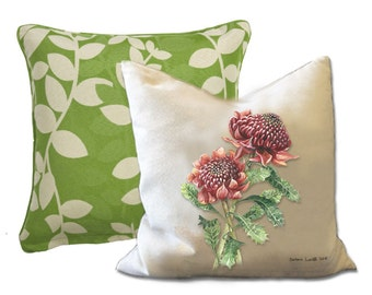 "Australian flora watercolour art printed on Cream Background Cushion Cover 40 x 40cm with cushion insert  (18""x18"")."