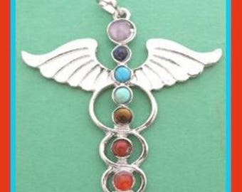 Chakra Winged Pendant - Silver Plated