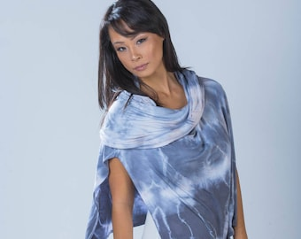 Bamboo cowl wrap poncho cape. Great beachwear, cruisewear, coverup for nursing, and for yoga. Handdyed grey gray from Simmer Clothing.