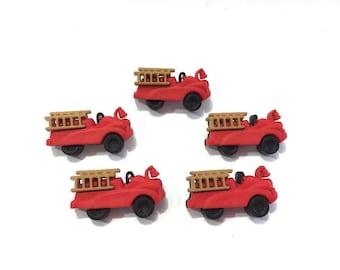Firetruck Buttons Jesse James Buttons Boyz Toyz  Dress It Up Buttons Set of 5 Shank Back - 11 A