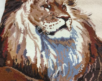 GORGEOUS Lion Needlepoint - FINISHED!!