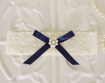 Bridal Garter, Elastic lace wedding garter, Navy Blue