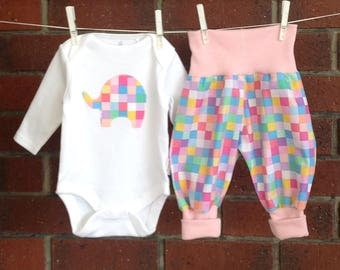 Pink elephant clothing for baby girls with elephant applique bodysuit and ribbed harem pants // baby shower gift girls // nb 3 6 12 18 mths