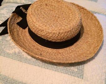 Vintage Sun Hat with black cotton fabric ribbon