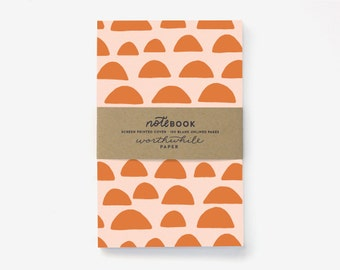 Sunrise Pattern Screen Printed Notebook with Blank Pages