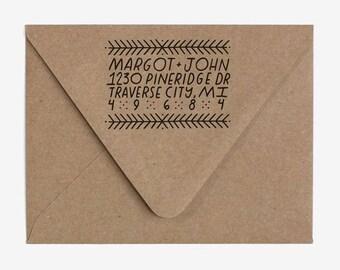 Festive - Custom Hand Lettered Return Address Stamp