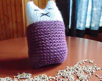 Hand-knitted Purple and Blue Springtime Lavender Lullaby Kitten