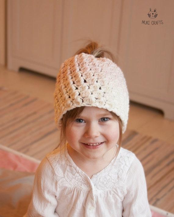 CROCHET PATTERN ombre bun hat Susan (toddler, child, adult sizes)