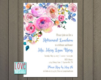 Floral Spring Garden Wedding Bridal Baby Shower Rehearsal Dinner Retirement Invitation - PRINTABLE DIGITAL FILE - 5x7