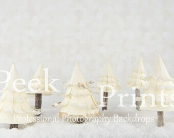 7ft.x5ft. Ivory Forest  - Vinyl Photography Backdrop- Christmas Tree Christmas Background
