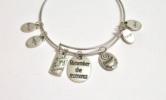 Remember the Moments Expanding Bangle Charm Bracelet, Gift For Her, Graduation Gift, Girlfriend Gift, Inspirational, Motivational Jewelry