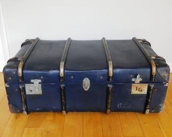 Huge 1950s Vintage Steamer Trunk Coffee Table Vintage Blue Trunk Storage Chest 1950s