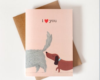 Funny dogs greeting card - Romantic funny love valentines day gift cute card - naughty valentine's card- for dog lovers